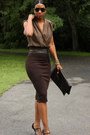 Dark-brown-pencil-diy-skirt-clutch-diy-bag-black-gucci-heels