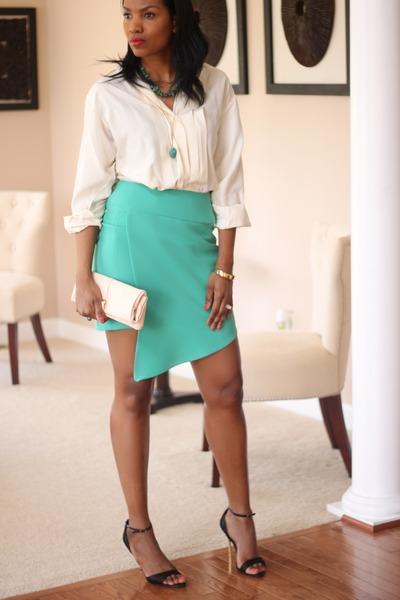 asymmetric DIY skirt - Burberry shirt - leather clutch DIY bag