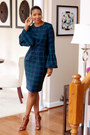 Navy-lantern-sleeve-diy-dress-brown-lace-up-gianvito-rossi-boots