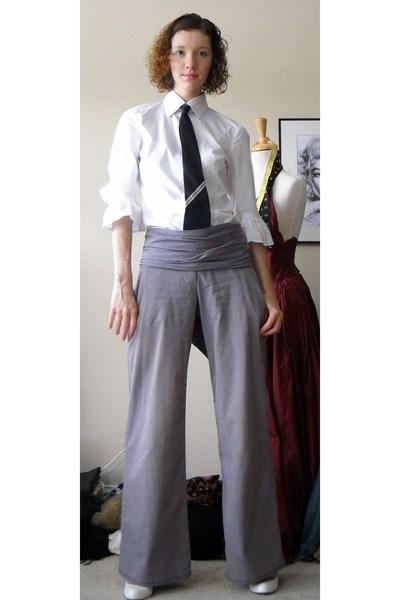 TJMaxx shirt - Anthropologie pants - Bakers shoes - handmade tie