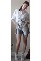 silver Michael Angel shorts - white American Eagle shirt - white Ebay shoes - pu