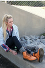Carrot-orange-patent-dr-marten-boots-periwinkle-denim-guess-jacket