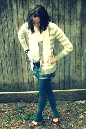 gray sweater - beige scarf - blue skirt - gray leggings - brown shoes - brown be