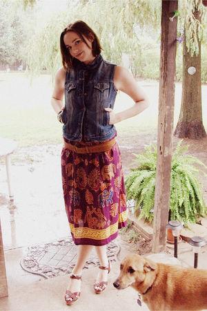 blue Levis vest - red dress - brown xhilaration shoes - green Jessica Simpson co