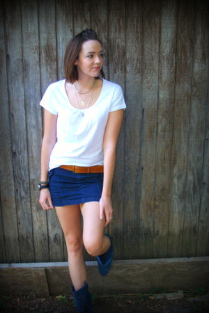 white danskin shirt - blue Miley Cyrus skirt - blue decree boots - brown vintage