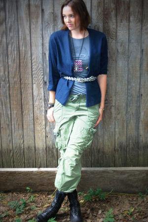 blue Islander jacket - gray weavers shirt - green Ralph Lauren pants - black Dol