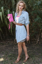 hot pink studded Wilson Leather bag - periwinkle diy denim vintage shirt