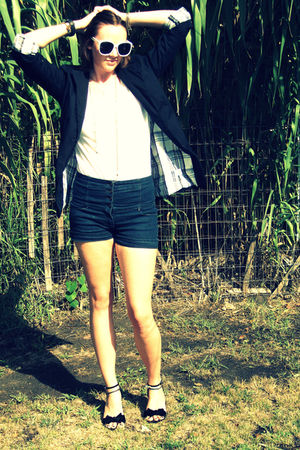 black Allen B blazer - white danskin shirt - blue Miley Cyrus shorts - black isa
