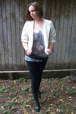 beige Erin Fetherston blazer - beige vintage shirt - black Miley Cyrus pants - b