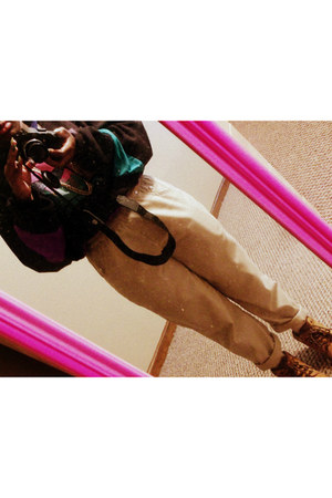 Thrift Store sweatshirt - brown Timberlands boots - khaki Macys pants