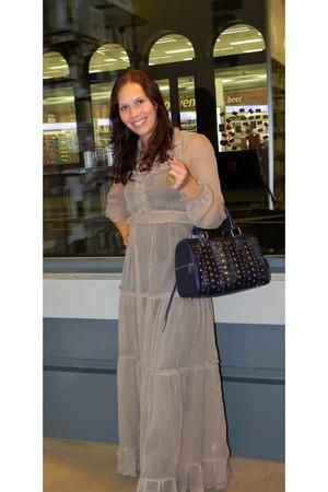 beige asos dress - blue Rebecca Minkoff bag - brown sam edelman boots - gold hou