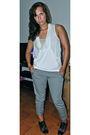 White-bcbgeneration-blouse-gray-calvin-klein-pants-black-anthropologie-shoes
