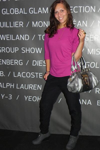 pink Victorias Secret blouse - silver Chloe purse - black pants - gray shoes