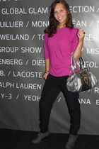 pink Victorias Secret blouse - silver Chloe purse - black pants - gray shoes