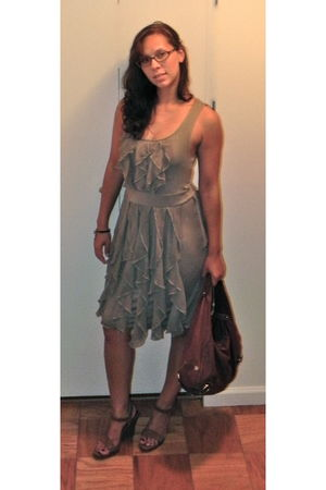 beige Anthropologie dress - brown Cole Haan bag - brown calvin klein shoes