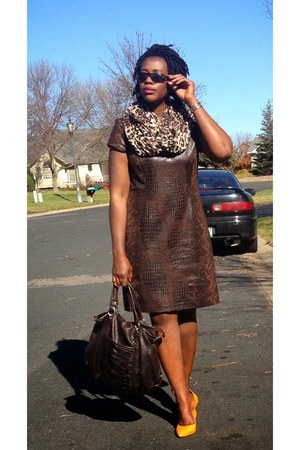 Charlotte Russe scarf - Chicos faux leather dress dress - BCBG pumps