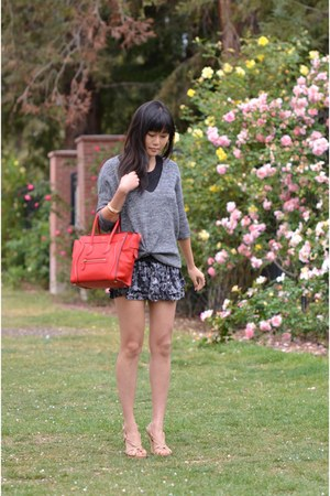 red micro Celine bag - Express sweater - Express skirt - Charles David wedges