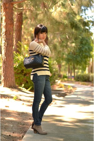 striped ann taylor sweater - Vince Camuto boots - Current Elliot jeans