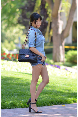 vintage jumbo Chanel bag - ann taylor shoes - joey True Religion shorts
