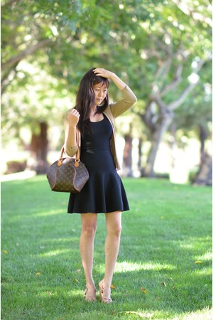 BCBG dress - ellipse Louis Vuitton bag - Express cardigan - Charles David wedges