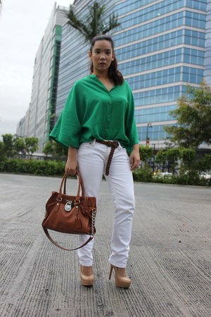 Forever 21 heels - Michael Kors purse - Armani Exchange pants - Zara top