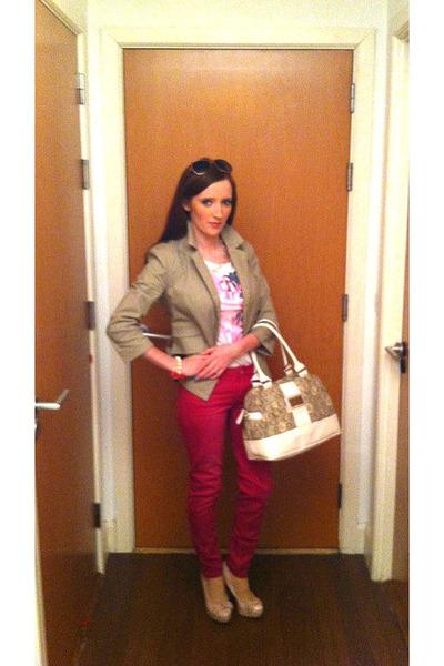 tan blazer Forever 21 blazer - pink jeggings American Eagle jeans