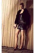 silver slingbacks Jimmy Choo shoes - dark gray sequined dress Topshop dress