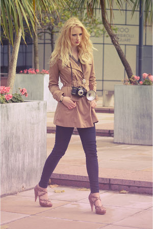 brown trench coat H&amp;M coat - brown studs unknown brand shoes