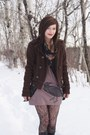 Tan-deadworry-dress-dark-brown-bdg-coat-dark-gray-from-the-30s-vintage-scarf