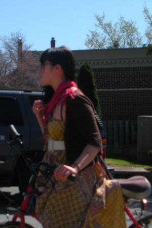 white belt - gold dress - brown Cherokee cardigan - blue leggings - red scarf -