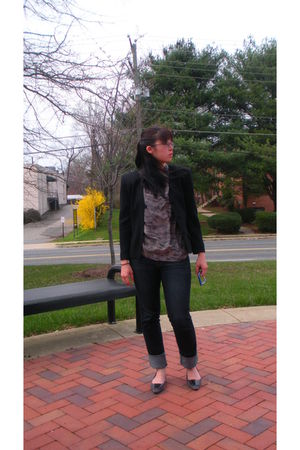 black Brystelle blazer - blue Uniqlo jeans - silver Anna and Frank blouse - silv