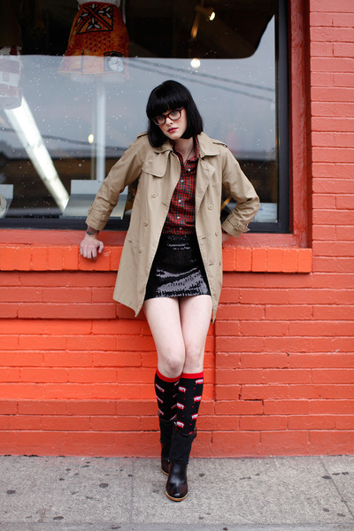 trench coat - sock it to me socks - Sequin mini skirt