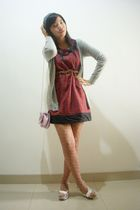 red Princess dress - brown Zara belt - gray unbranded cardigan - gray Naughty ha