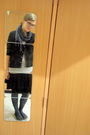 Black-skirt-gray-tights-blue-keds-shoes-silver-aeropostale-sweater-black