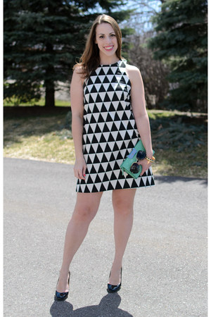 black kate spade shoes - black asos dress - aquamarine clutch dvf bag