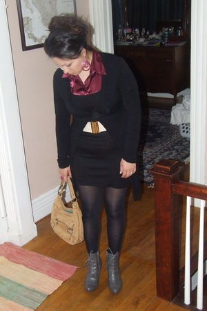 black Forever21 dress - gray Forever 21 shoes - brown thrifted purse - beige For