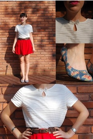 white thrifted blouse - red BDG skirt - sky blue floral flats