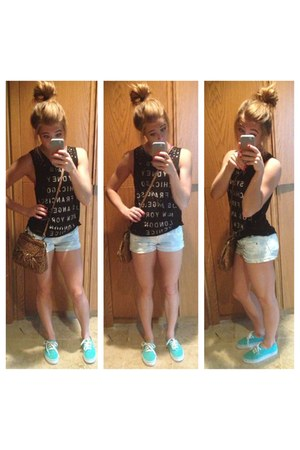 white Target shorts - green mint classics Vans shoes - brown Jessica Simpson bag