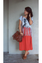 thrifted bag - DIY fringed shirt - thrifted maxi skirt - thrifted loafers