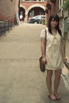 beige Forever 21 cardigan - beige H&M dress - orange Shi shoes - orange Great AU