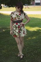 beige Ruche dress - brown Charlotte Russe belt - brown Candies shoes - red Franc