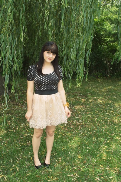 beige Urban Outfitters skirt - black H&M shirt - black moms shoes - gold Spotted