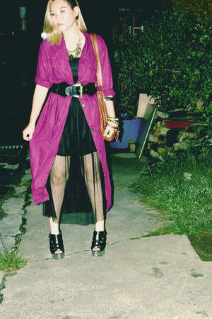 net dress - magenta outwear jacket - black wedges