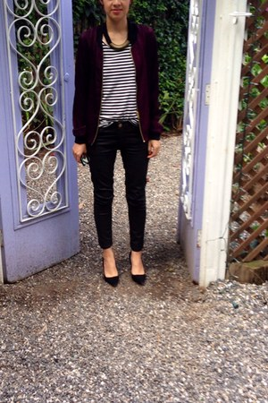 black Bershka shoes - crimson Bershka jacket - stripes Zara shirt