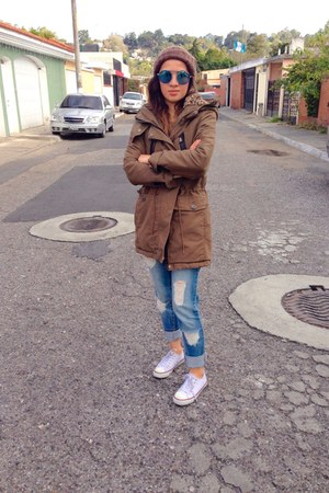 blue Forever 21 jeans - army green pull&bear jacket