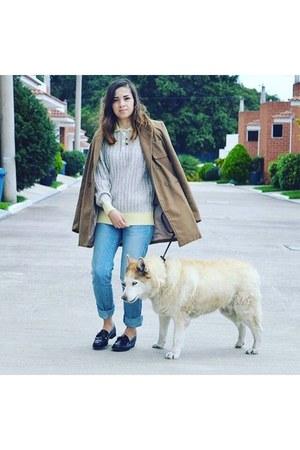 camel pull&bear coat - sky blue Zara jeans - eggshell vintage sweater