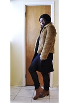bronze H&M coat - camel joe fresh style shoes - blue Levis jeans