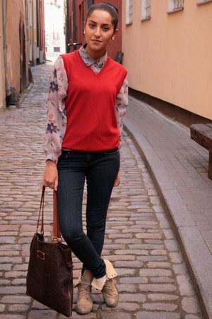 red Hugo Boss vest - camel Mango boots - navy Zara jeans