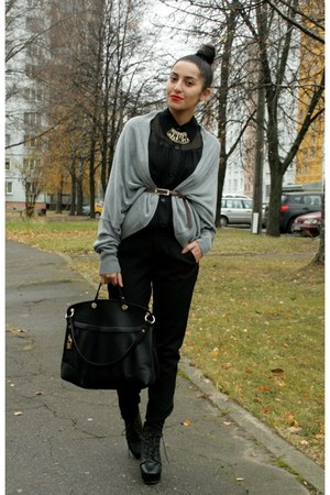 Zara pants - leather bag - New Yorker cardigan - Zara blouse