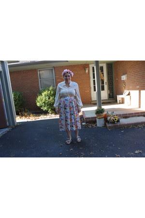 eggshell thrifted vintage blouse - blue thrifted vintage skirt